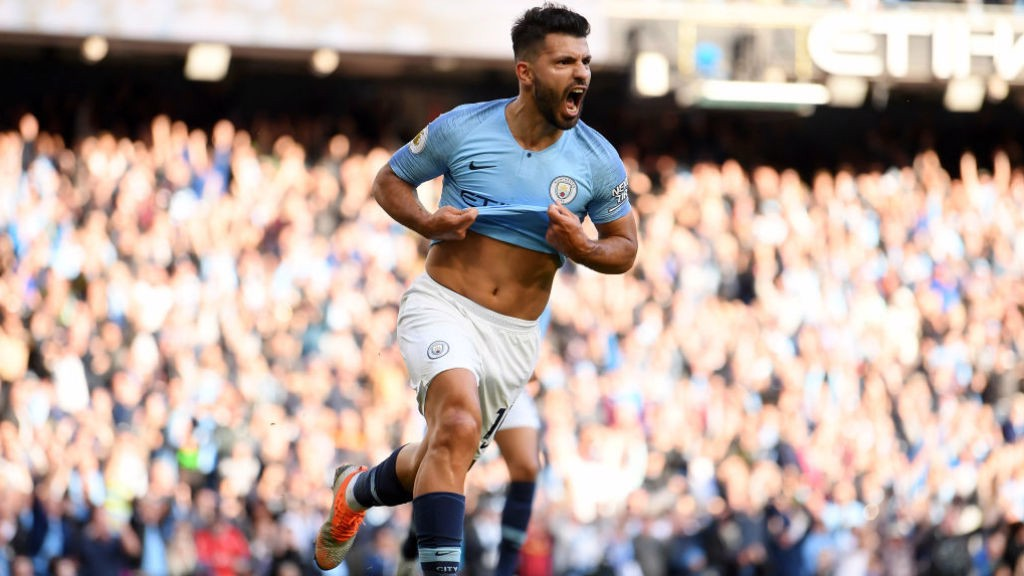 CLASS ACT : Aguero celebrates his 206th City goal