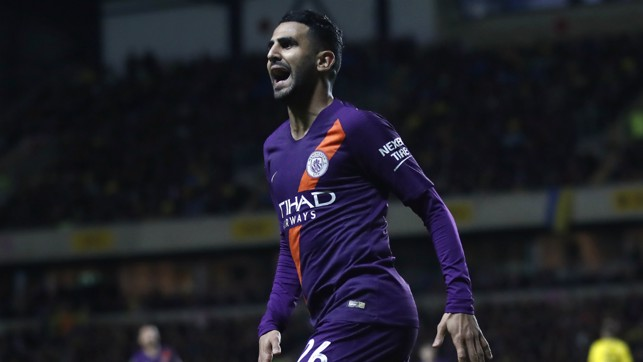 PURPLE PATCH : Mahrez celebrates his third goal in two games
