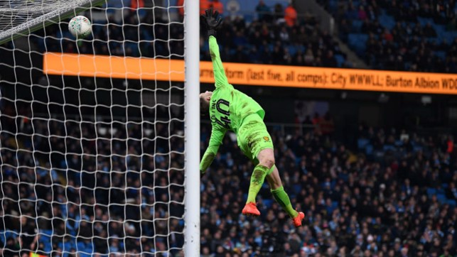 UNSTOPPABLE : Oleks Zinchenko's stunning shot sails over Burton keeper Bradley Collins and into the net