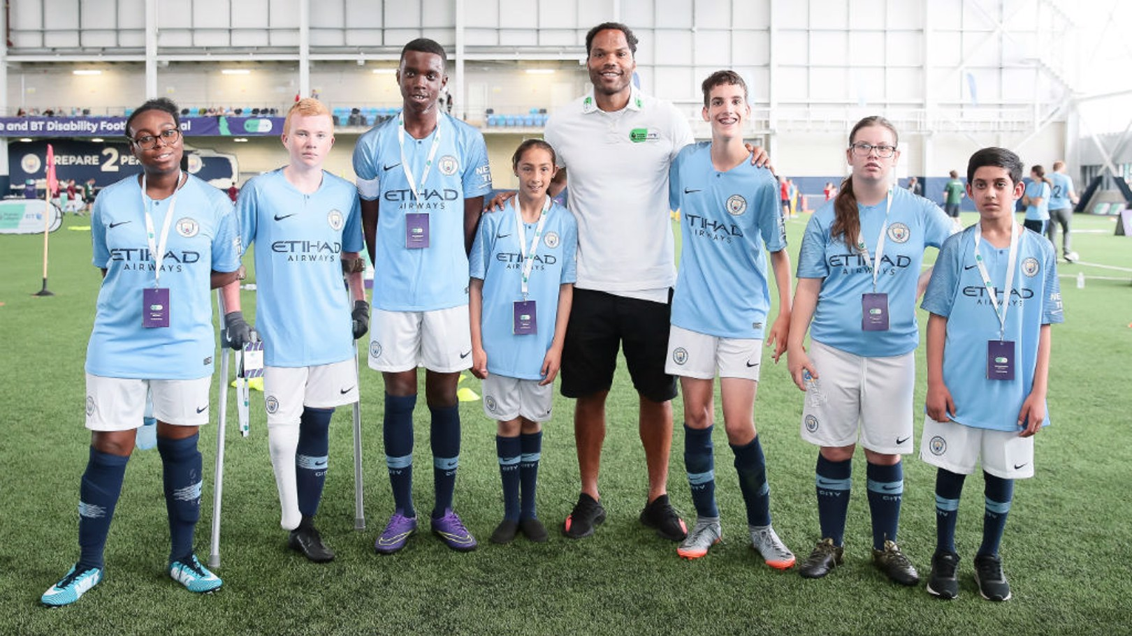 OCCASION TO REMEMBER: Joleon Lescott with youngsters at the Premier League and CITC Disability Football Festival