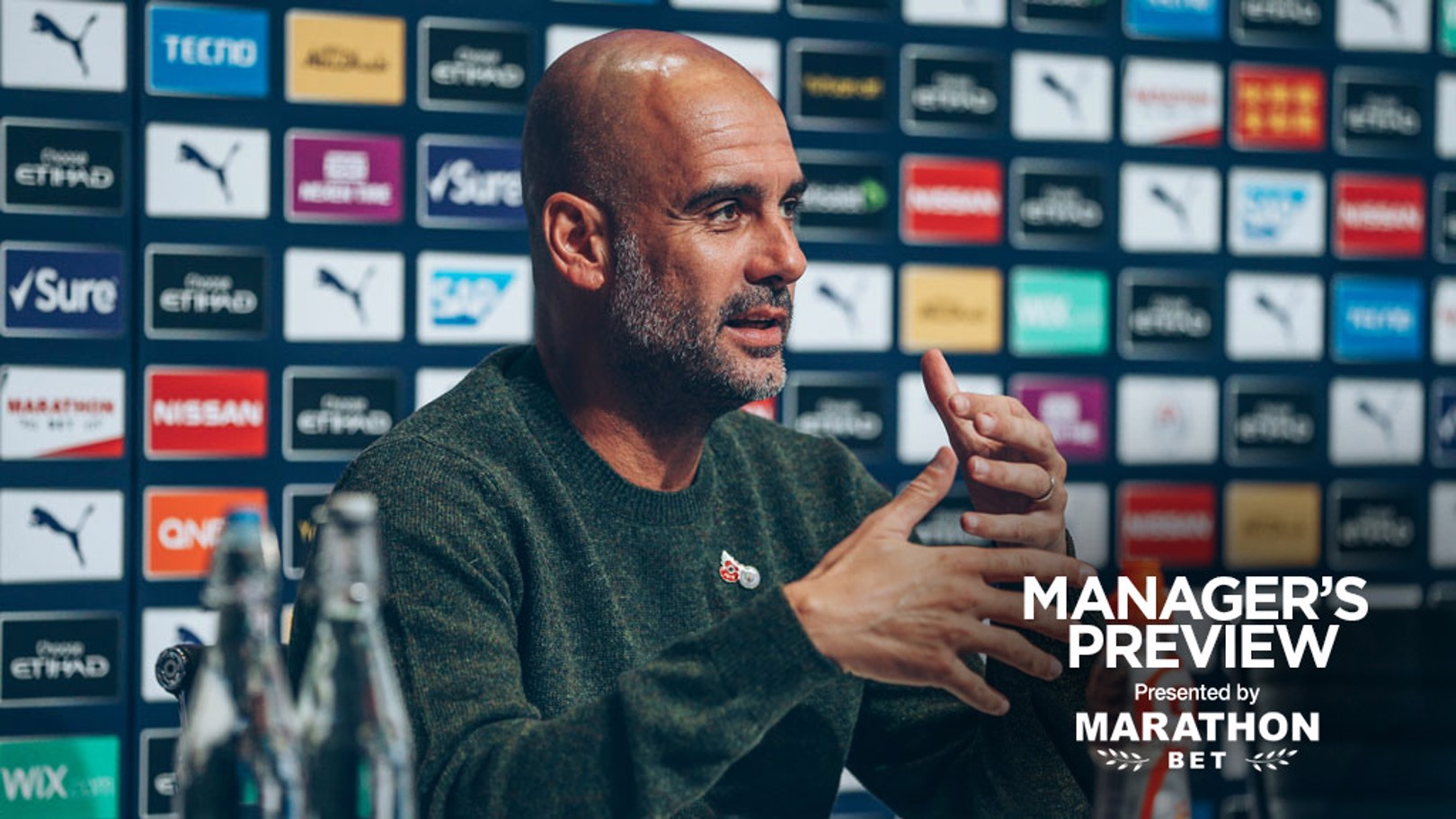 MEDIA DUTIES: Pep Guardiola shares his thoughts before City welcome Aston Villa to the Etihad Stadium.