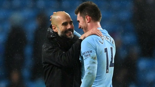 PEP TALK : The boss greets Aymeric after his fine debut display