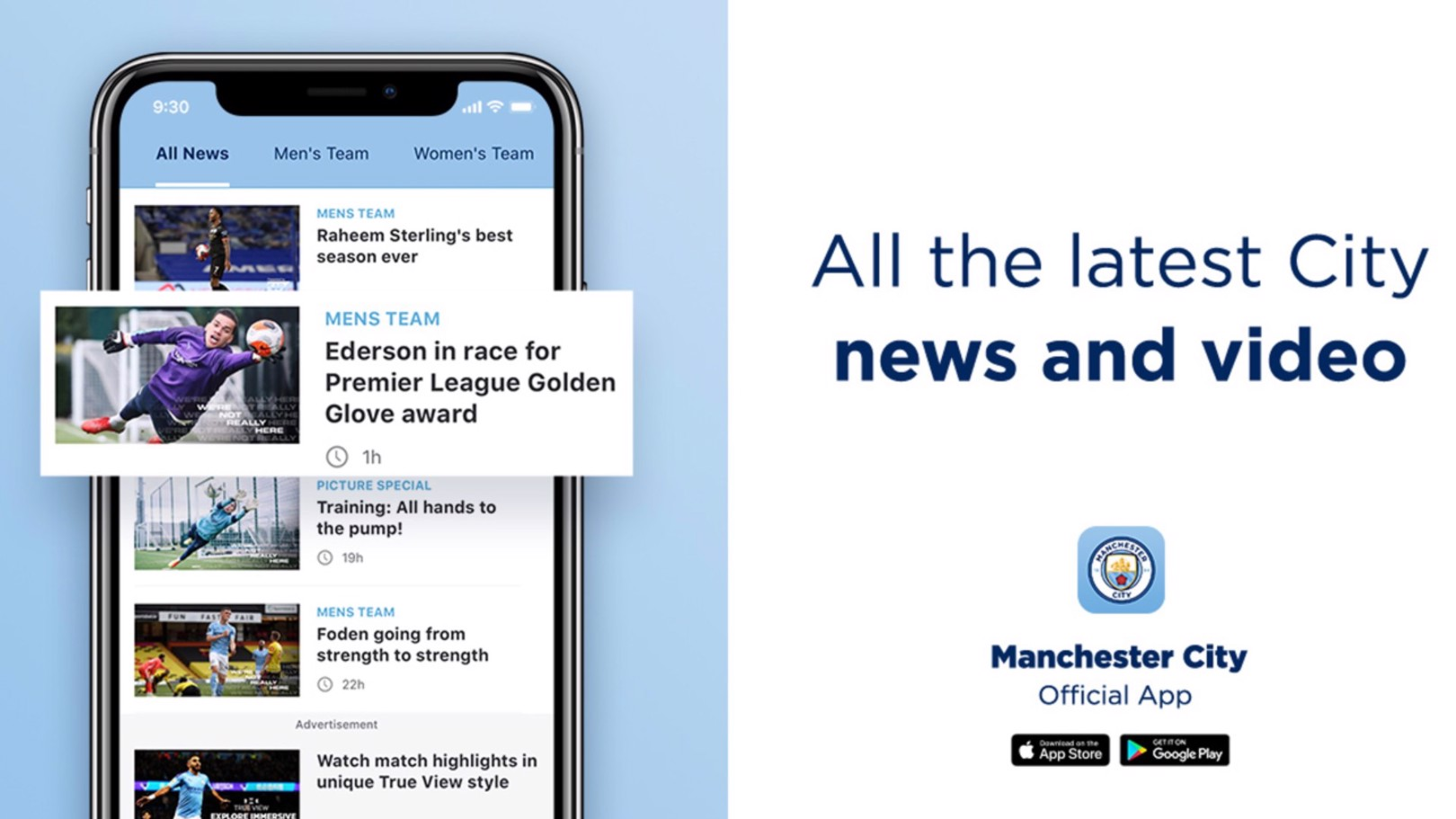 Sign up for the official Man City app and push notifications