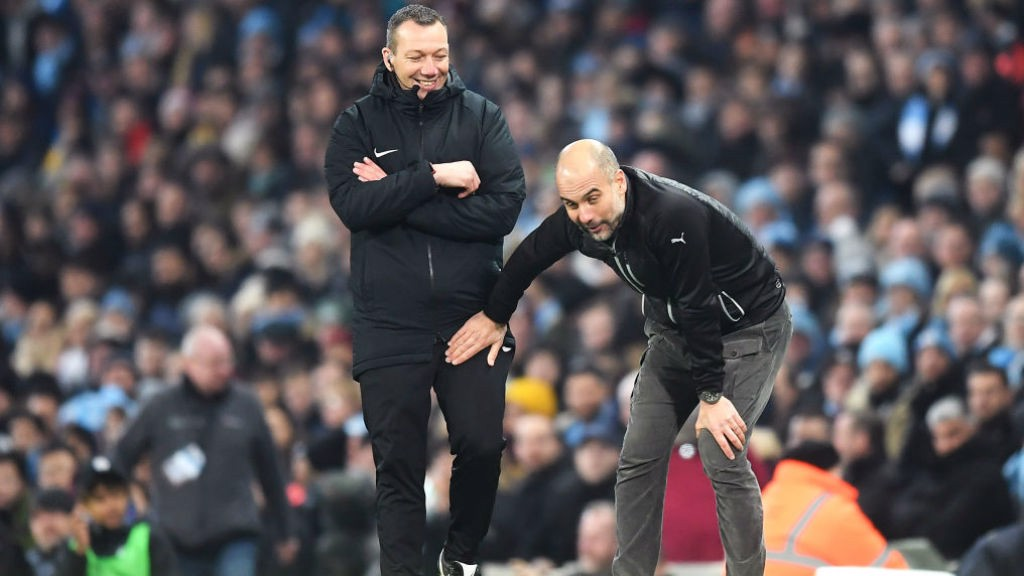AND BREATHE : Guardiola's men hung on to earn all the points.