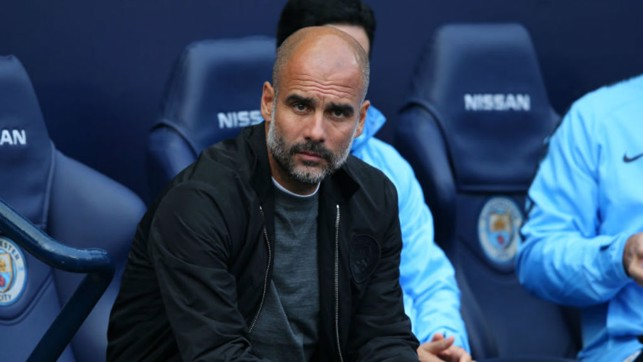 WATCHING BRIEF : Pep Guardiola keeps an eye on proceedings during the game against Burnley