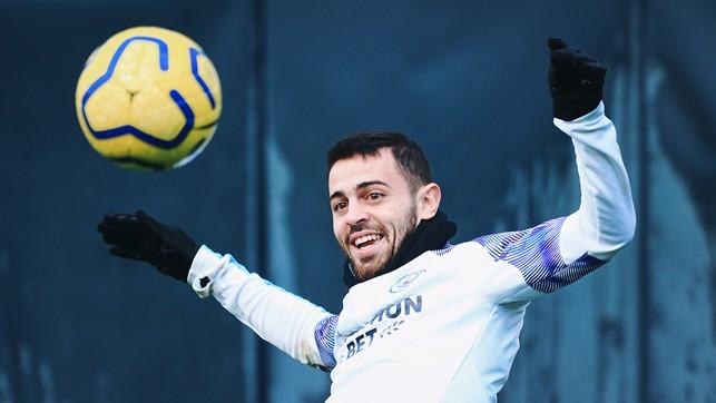 SMILING SILVA : Bernardo enjoying himself in training