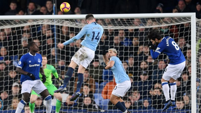 RIGHT ON TIME : The Frenchman rose to the occasion again for the Blues in our crucial trip to Everton earlier this month, heading us into the lead on the stroke of half-time