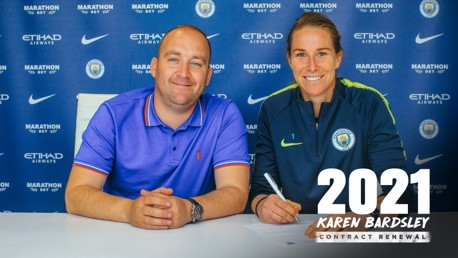 NEW DEAL: Smiles all around, as Karen Bardsley signs a two-year contract extension