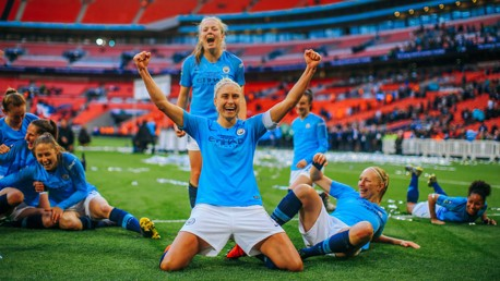 CHAMPIONS: Winning the FA Cup at Wembley - Steph Houghton's smile says it all!
