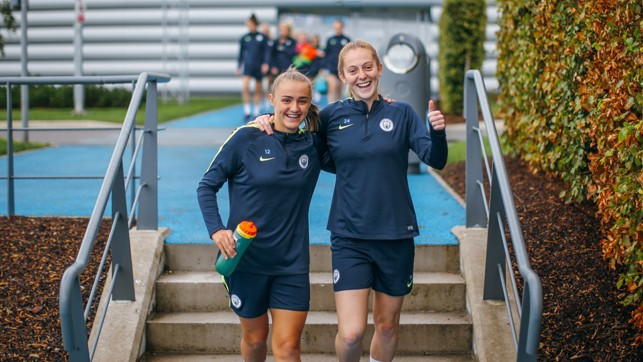 SAY CHEESE : Georgia Stanway and Keira Walsh look relaxed ahead of the trip to Chelsea