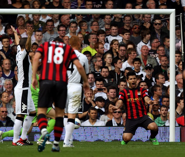 SUPER SERGIO : Aguero scores a brace against Fulham in 2011