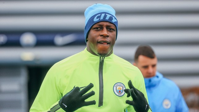 ON THE MENDY : Benjamin Mendy looks excited to be back in training after an injury lay-off