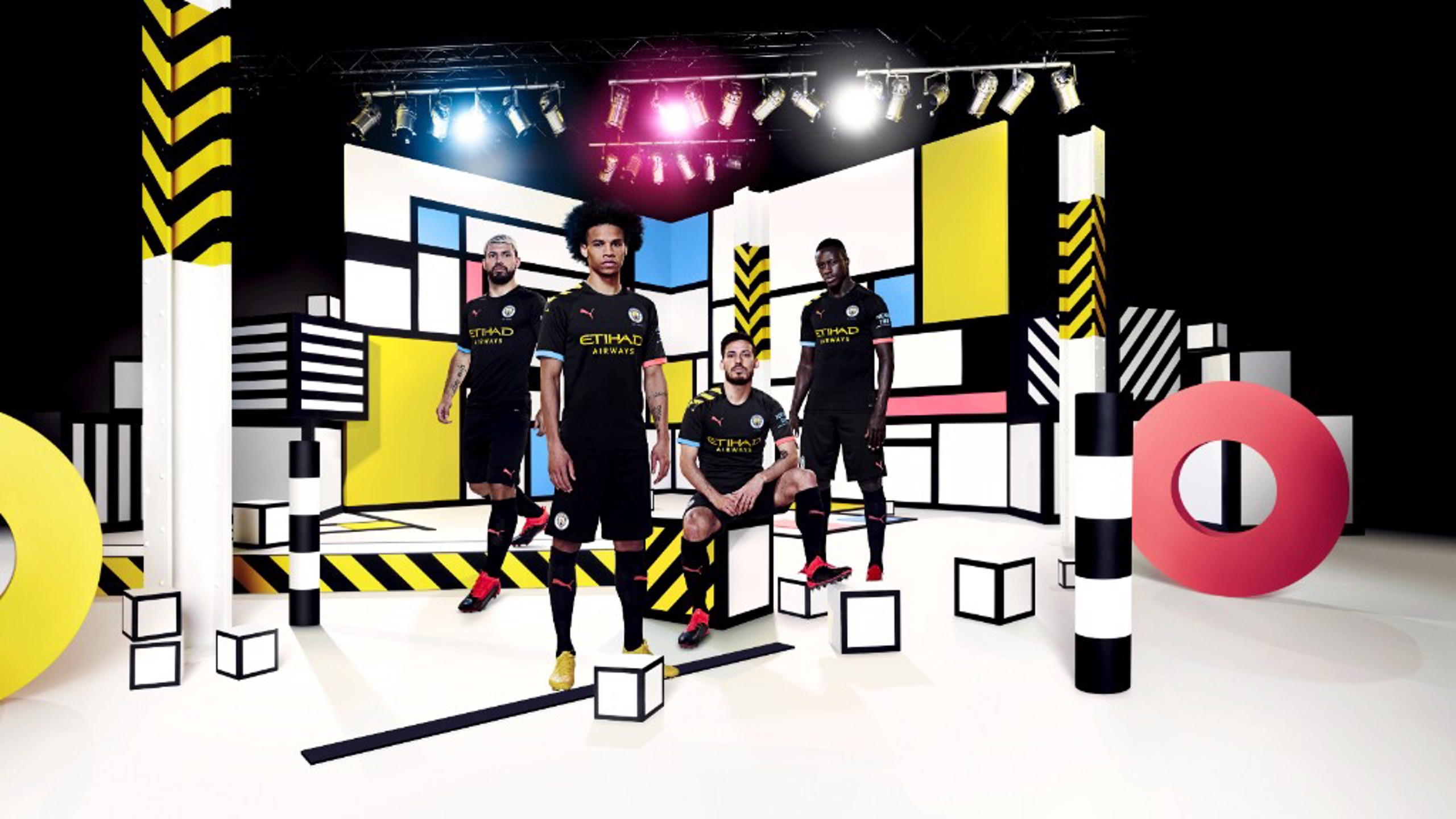 SQUAD GOALS: Sergio Aguero, Leroy Sane, David Silva and Benjamin Mendy sport our new 2019-20 PUMA away kit