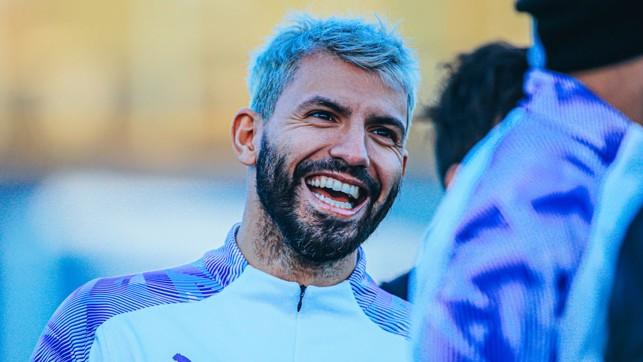 SMILING SERGIO : Our record goalscorer having fun in training