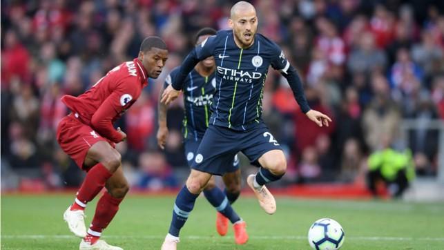 SOLID SILVA : David Silva takes the fight to Liverpool