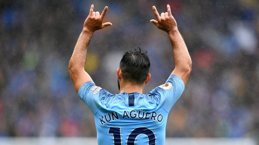 SERGIO SALUTE : Aguero celebrates a goal on his 300th appearance