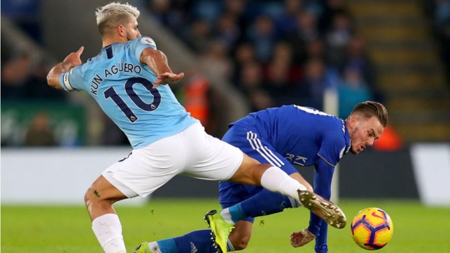 AT FULL STRETCH : Sergio Aguero challenges James Maddison