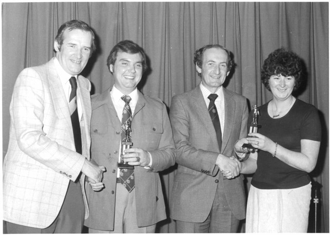 PRESENTATION TIME : Bernard (left) hands out awards at a presentation evening with Bernard always a regular visitor to supporters' awards nights and functions