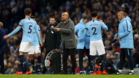 PEP TALK: The boss hands out instructions after the early injury to Oleks Zinchenko which saw Kyle Walker come on in his place