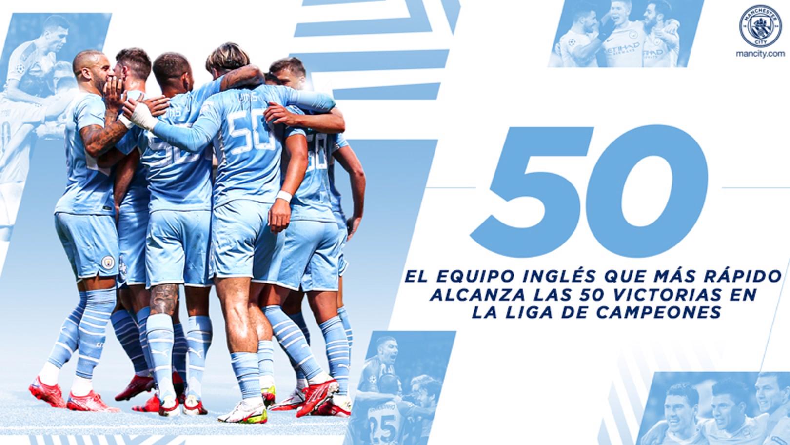 El City, el equipo inglés que más rápido alcanza las 50 victorias en la UCL