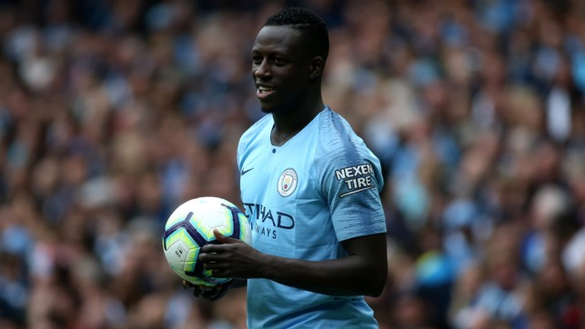 JOYEUX : Benjamin Mendy was glad to be back in action at the Etihad Stadium