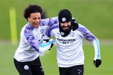 Leroy Sane and Ilkay Gundogan enjoying themselves in Manchester City training.