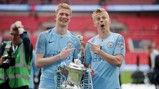 LOOKING GOOD: KDB and Oleks celebrate together