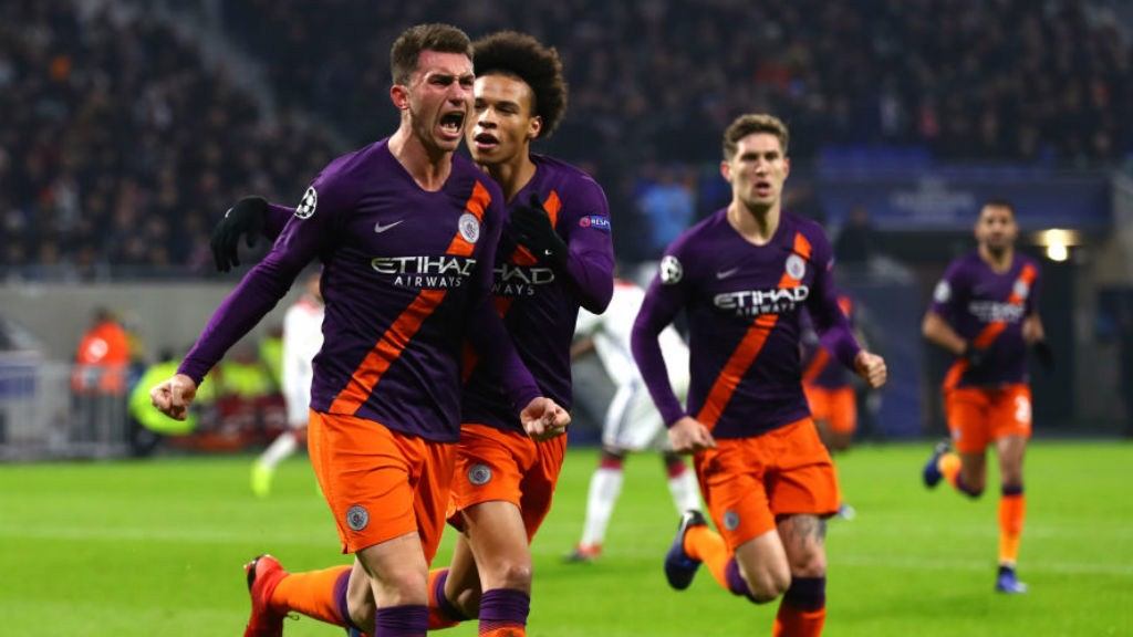 LEVEL BEST : Aymeric Laporte roars with delight after heading home for City