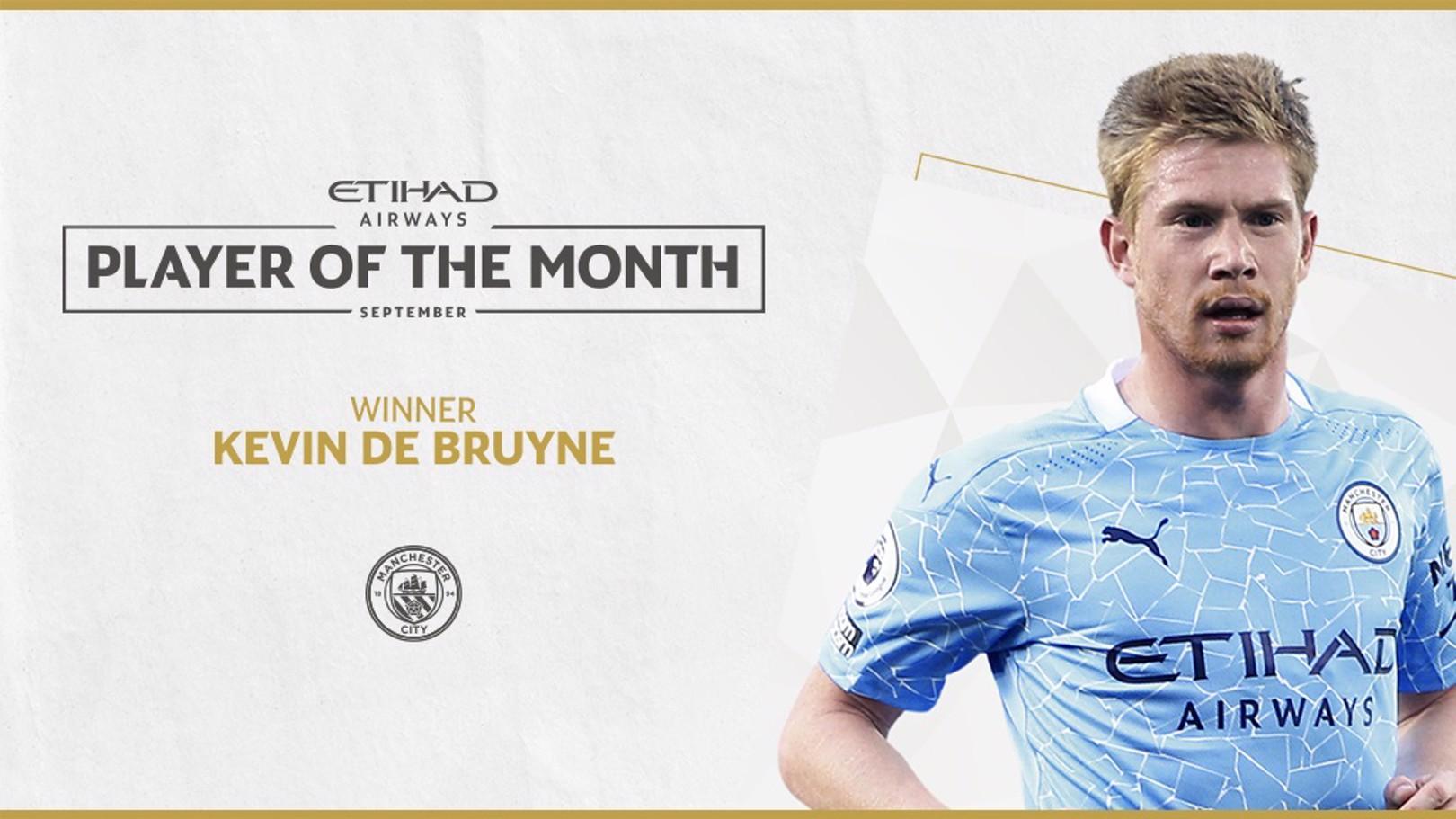 De Bruyne élu joueur du mois par Etihad