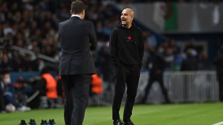 BOSS: Guardiola reacts on the sideline.