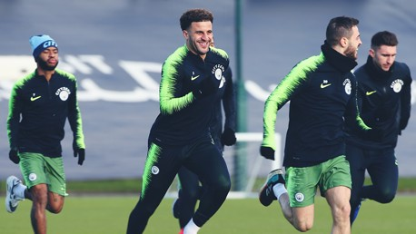 TRAINING: Tuning up for the Toffees.