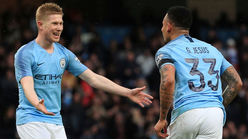 CUP DELIGHT : KDB and Gabriel Jesus celebrate as City take the lead.