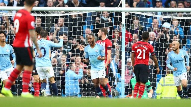 RAZ-AMATAZ : Raheem Sterling celebrates after scoring our fourth goal on the stroke of half-time