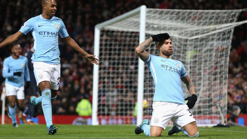 HAPPY DAYS : Otamendi puts City in the driving seat in last season's derby