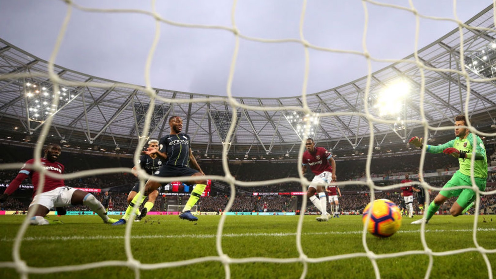 JUST TWO GOOD: Raheem Sterling slots home City's second goal