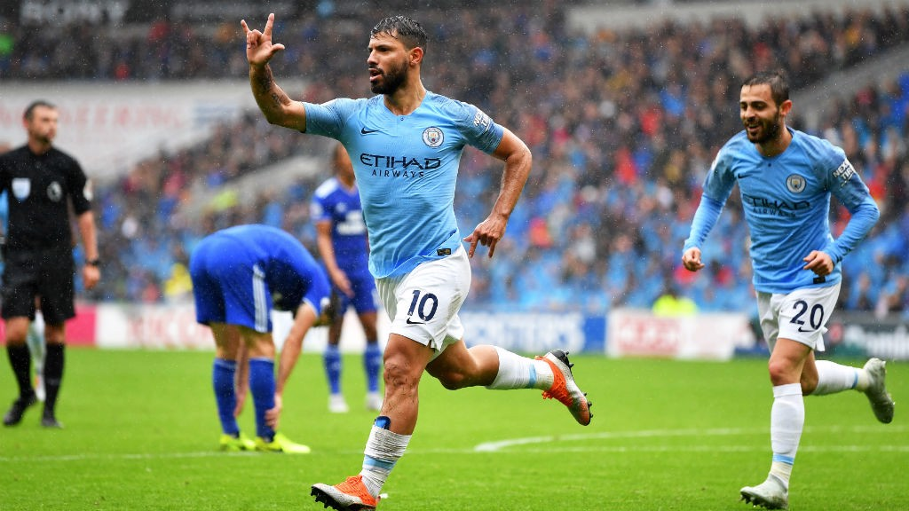 BLUEBIRDS CLASH : Sergio Aguero celebrates City's first goal away to Cardiff