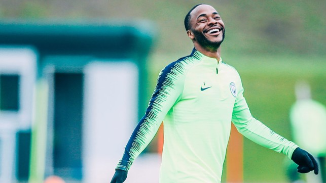 CAUSING A STER : Something's tickled Raheem in training