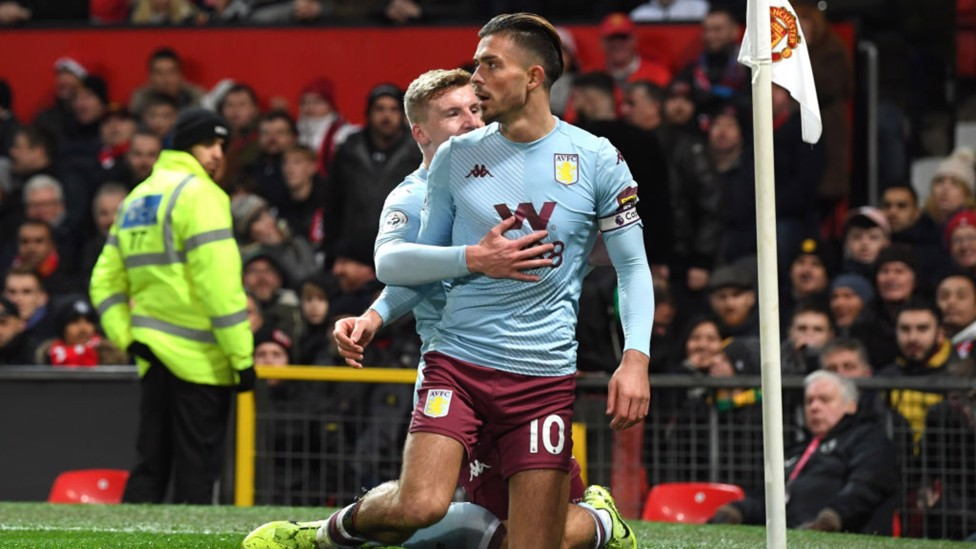 WONDERGOAL: Grealish curls home a stunning opener in Aston Villa's 2-2 draw with Manchester United in December 2019