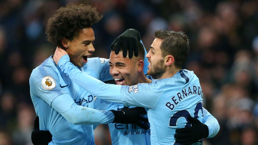 FAB GAB : Leroy Sane and Bernardo Silva are the first to salute Gabriel Jesus against Everton
