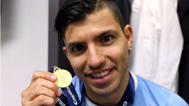 MEDAL OF HONOUR : Sergio proudly displays his Capital One Cup winners medal after our 2014 win over Sunderland