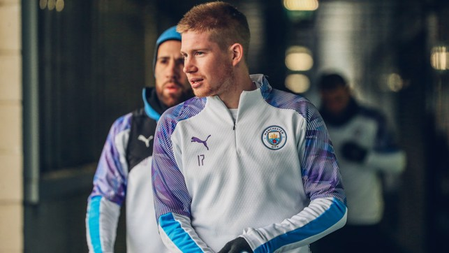 LIMBERING UP : Kevin De Bruyne gets ready for training