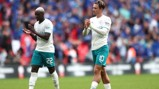 ALL OVER: Grealish and Mendy show their appreciation to the fans at Wembley.