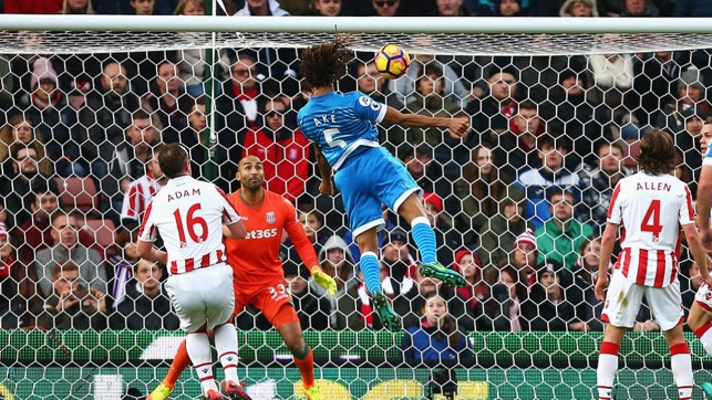 : GOAL STANDARD: Ake heads home during his loan season for Bournemouth in a clash at Stoke in 2016