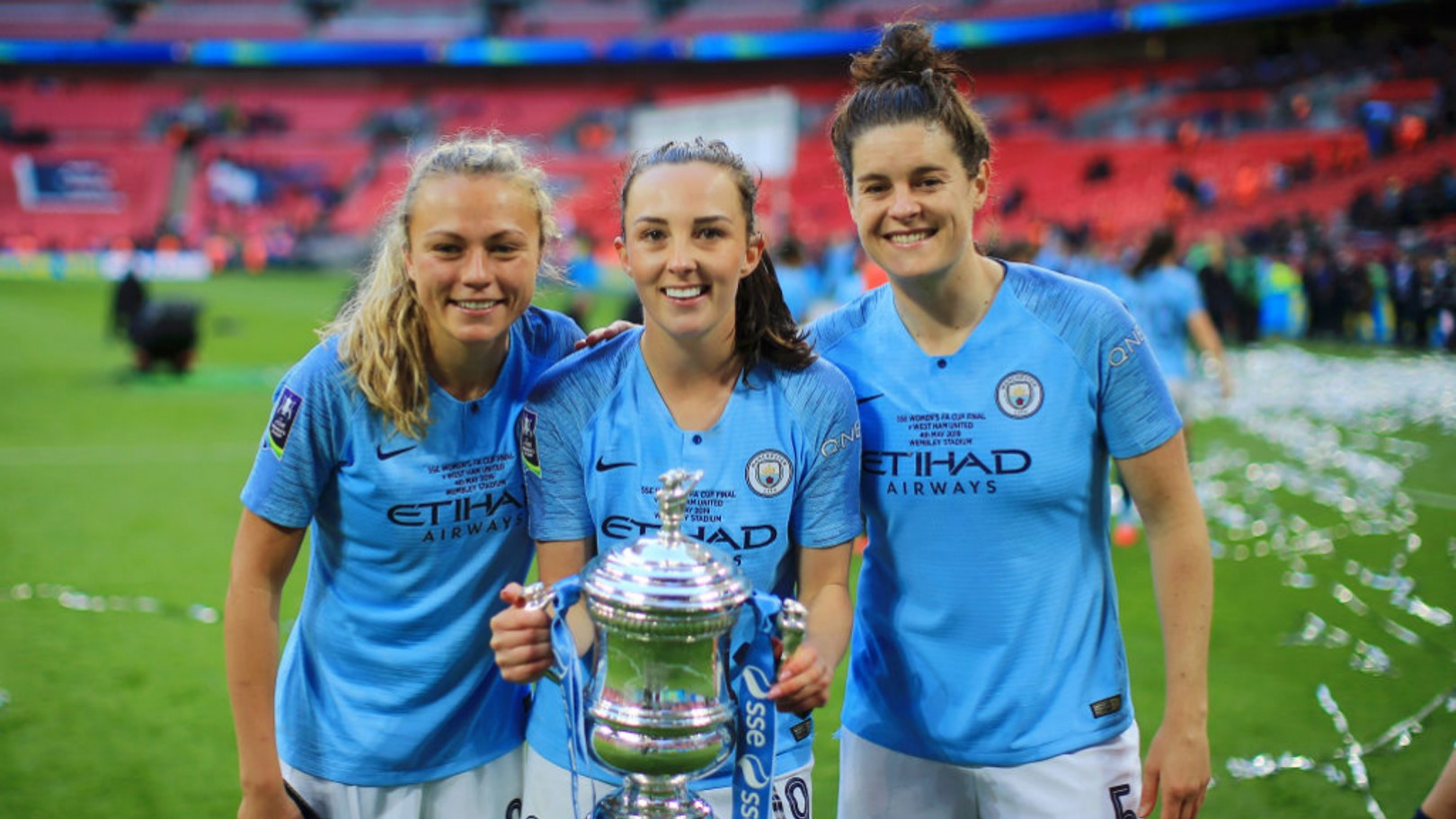 TOP TRIO: Claire Emslie, Caroline Weir and Jen Beattie have all been selected in Scotland's World Cup squad
