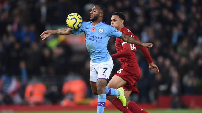 ALL OUT : Raheem Sterling takes the ball as City continued to push for a way back into the game.