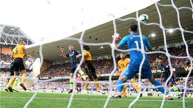 RISE AND SHINE : Aymeric's first goal for the Club came against Wolves where his superb header helped earn us a vital point