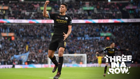 GET IN: Rodri's celebrates with the City fans after putting us 2-0 up