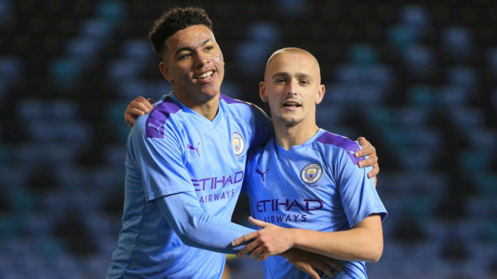 TWO'S COMPANY: City scorers Morgan Rogers and Lewis Fiorini celebrate