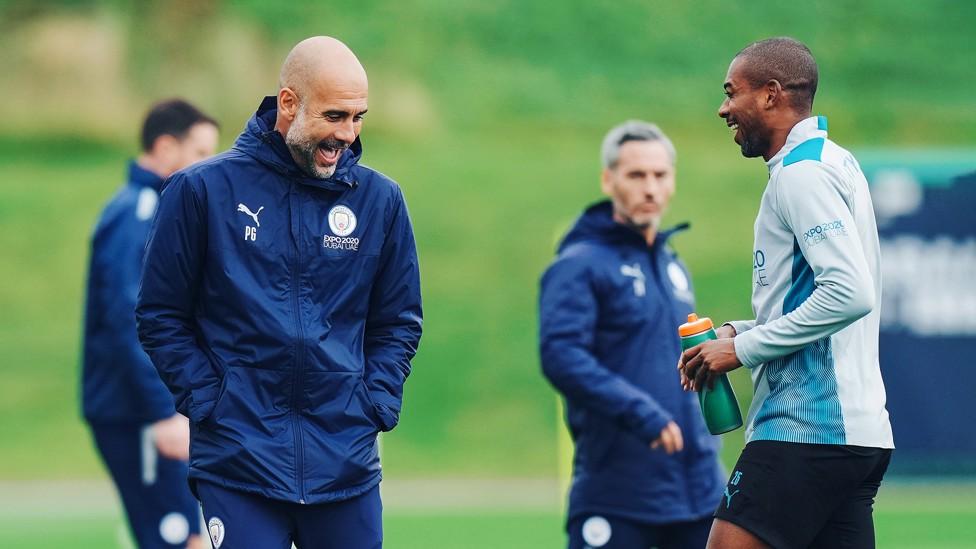 CFA SMILES : Pep Guardiola and Fernandinho share a joke