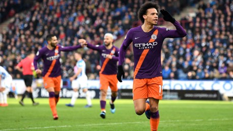 TONDERFUL: Leroy Sane is all smiles after registering our 102nd goal of the season at Huddersfield on Sunday